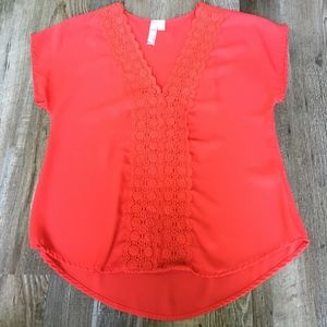 Francescas bright red lace blouse small like new